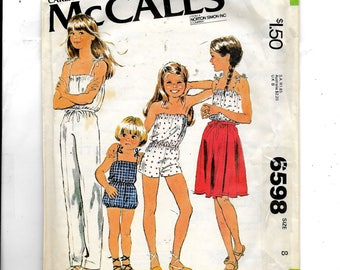 McCall's Children's and Girls' Jumpsuit and Wrap Skirt Pattern 6598