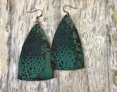 Painted Leather Earrings-Remnants Collection--Boho Earrings-Mini Canvas-Medium Floral Bells