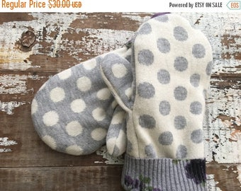 SALE- Upcycled Acrylic Mittens- Polka Dot Mittens-Gray and White