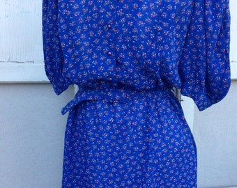 SALE- Retro Eighties Dress-Secretary Style- Blue Floral
