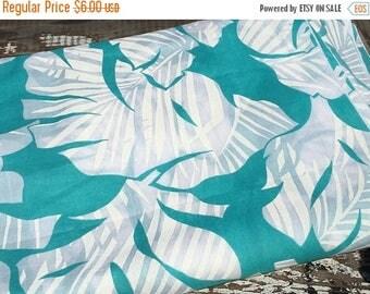 SALE- Tropical Floral Fabric-Island Paradise-Turquoise-Aqua