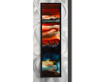 Blue, Red & Orange Modern Metal Art, Abstract Metal Wall Painting, Contemporary Wall Accent, One of a Kind Home Decor - JC 503I by Jon Allen