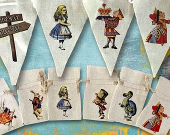 Alice in Wonderland Party Decorations | Banner Garland Bunting Favor Bags | Red Queen Mad Hatter White Rabbit Chesire Cat | Banner Bags Set