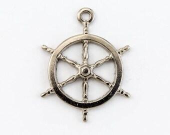 17mm Silver Ship's Wheel Charm (2 Pcs)  #CHA076