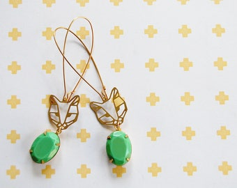 cat lady bling brass dangle earrings with vintage facet green stone - gold plated