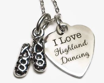 "I Love Highland Dancing Necklace with Ghillies on 18"" Sterling Silver Cable Chain Gift Boxed"