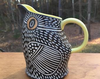 Carved Modern Porcelain Bird Pitcher
