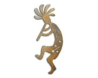 Kokopelli with Flute Metal Wall Art -Left Facing - Brown Rust Finish