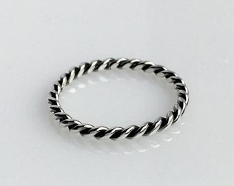 ON SALE TODAY Sterling Silver Braided Ring, Twist Stacking Ring, Stacking