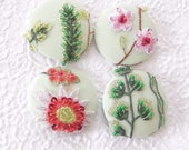 4 pale green pink yellow floral beaded embroidered fabric buttons, 1.9 inches, 4.7 cm, 48.26 mm, size 75 buttons