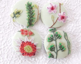 SPRING COLLECTION - 4 pale green pink yellow floral beaded embroidered fabric buttons, , 1.9 inches, 4.7 cm, 48.26 mm, size 75 buttons