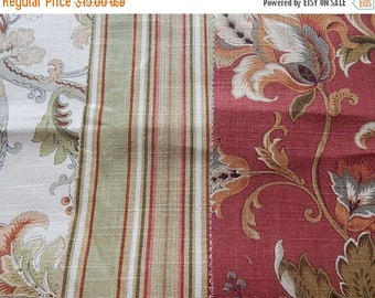CLEARANCE - 3 pieces red ivory multi woven fabrics, 10 x 10 inches