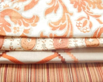 CLEARANCE - 4 pieces orange ivory multi fabrics, 7.5 x 9 inches