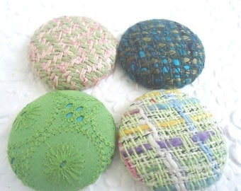CLEARANCE - Green buttons, wool buttons, fabric buttons, size 60 buttons, set of 4 buttons