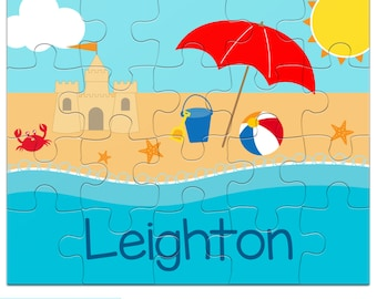 Personalized Puzzle for Kids - Beach Puzzle - Jigsaw Puzzle with Child's Name - 20 pieces, 8 x 10 inches, Custom made with your child's name