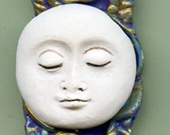 Polymer Clay Turquoise  Moon Pendant Bead , purple, gold  BMNP 1