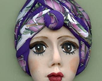 Polymer Clay One of a Kind   Detailed  Art Doll Face with hat Cab CNF 3