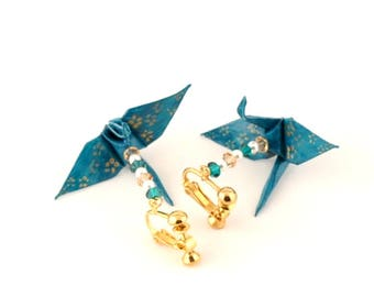 Cherry Blossom Earrings, Gold flowers on Teal Green Origami Paper Cranes, small Jewelry