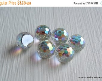 25% OFF Sale 6 Vintage 6mm Swarovski 4861 Flat Back Fireball Crystal AB Comet Argent Light (DR1 - 7)