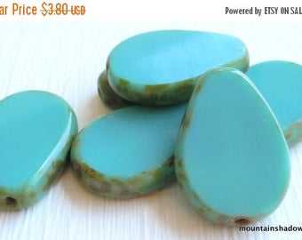 20% Summer SALE Czech Glass Beads 18mm Picasso Green Turquoise Picasso Beads - 6 (G - 616)
