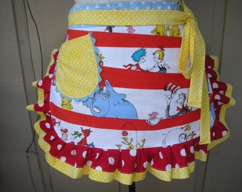 Womens Aprons - Dr Seuss Aprons - Half Aprons - The Cat in the Hat Aprons - Dr. Seuss 1957 - Teachers Gifts - Robert Kaufman Fabric - Etsy