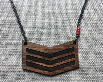 Wood Chevron pendant necklace