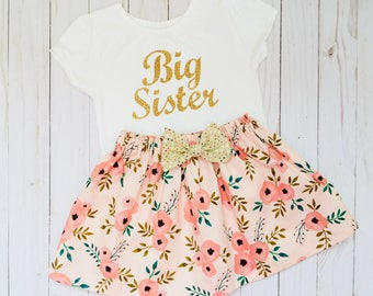 Shabby chic BIG SISTER OUTFIT in coral pink and pink floral.. sparkle gold shirt..girls clothing