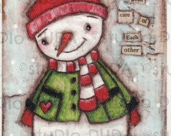 Print of my Original Whimsical Christmas Snowman Mixed Media Painting - Take Good Care