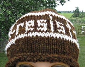 Hand knit Resist Hat for Men and Women, Protest Cap, Alpaca Hat