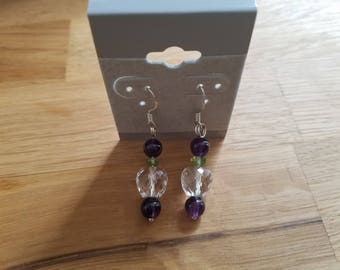 Crystal Apple with green leaf and purple Amysthsist - earrings on sterling silver wires