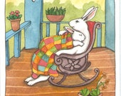 RESERVED for AS - Original Art - Porch- Watercolor Rabbit Painting