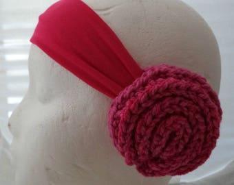 Crocheted Earmuffs Headband - Sparkly Pink Rose (SWG-HH-GGSURQ03)