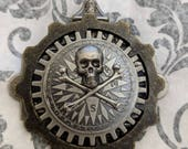 Steampunk Skull and Crossbones Brooch Hat Pin Lapel Pin Shawl Pin Pirate Compass Gears