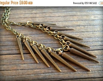 SUMMER SALE Bronze Spike Layering Necklace on Cable Chain