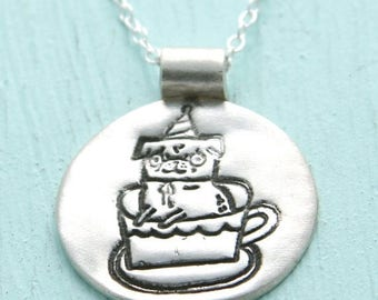 ON SALE TEACUP Pug necklace, Gemma Correll party pug in a teacup, eco-friendly silver or white bronze pendant.  Handcrafted by Chocolate and