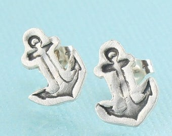 ON SALE ANCHOR Stud Earrings -  sterling silver posts handmade and illustrated by Chocolate and Steel