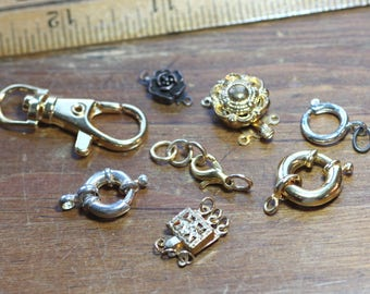 Gold Silver Copper Spring Ring Clasps Clip Box and Lobster Claw Clasp Assortment Large Spring Ring Gold Silver Finding Lot