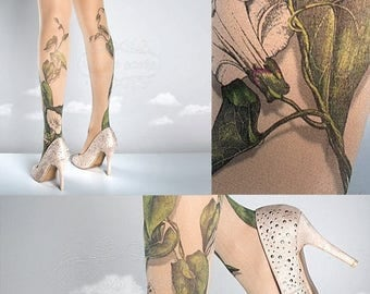 SALE///endsAug22/// Tattoo Tights -  Climber Plant nude one size full length closed toe pantyhose tattoo socks ,printed tights