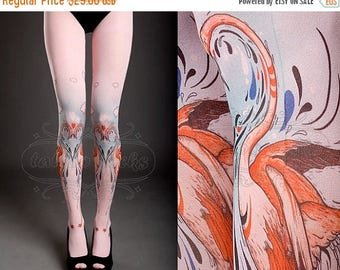 SALE///Happy2018/// Tattoo Tights -  light pink one size Flamingo Love full length closed toe printed tights / pantyhose spring / summer