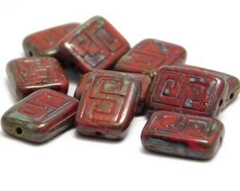 Rectangle Beads - Czech Picasso Beads - Czech Glass Beads - Greek Key Rectangle - 12x9mm - Red Picasso - Czech Beads - 10pcs (3242)