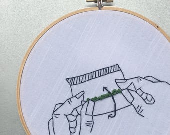 How to Roll - hand drawn and embroidered marijuana inspired wall hanging