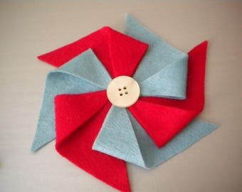 Half Price & Ready to Ship! Colorful Felt Pinwheel Headband in Red and Baby Blue for Women or Children