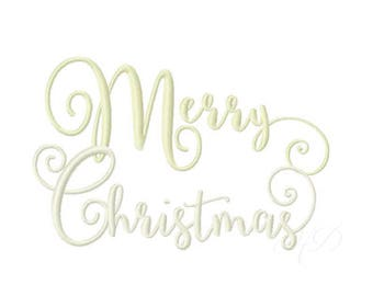 Merry Christmas Embroidery Design Merry and Bright Instant download BX 4x4 5x7 6x10