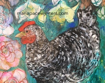 Speckled Chicken In The Garden- Original mixed media/encaustic painting by Maria Pace-Wynters