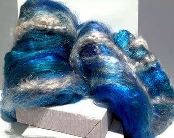 "Blue,silver fiber art batt, felting spinning fiber ""My Blue Heaven"" nuno needle wet felting, blue, turquoise, aqua, teal, silver"