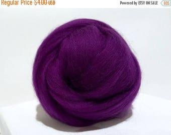 ROVING SALE Deep Purple Merino Roving, Needle Felting Spinning Fiber, Purple, Violet, Eggplant, Merino wool, 1oz w 3 samples, purple wool, p