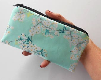 Zipper Pouch for Phone Cosmetic Zipper Pouch Clutch Purse ECO Friendly Padded NEW SIZE Rainwater Blooms
