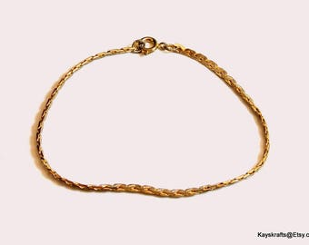 Gold Tone Rombo Chain Small Chain Bracelet Vintage Bracelet Gold Tone Chain 6 Inch Gold Bracelet Free Shipping In USA