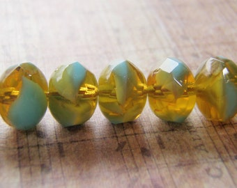 Blue Turquoise and Amber Beads 9 x 6 mm Glass Rondelle 10 Beads