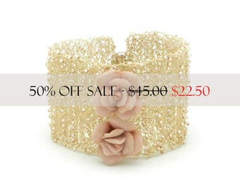 Wire Crochet Cuff, Wide Cuff Bracelet, Bridal Bracelet, Bridal Jewelry, Wedding Jewelry, Wedding Bracelet,  Made by Durango Rose